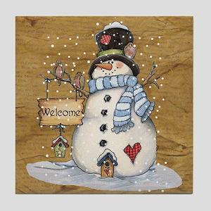 Folk Art Snowman Tile Coaster