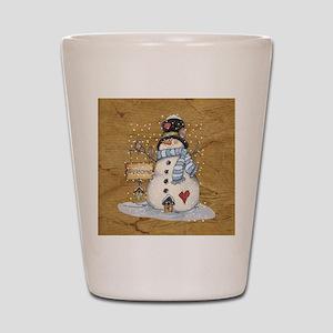Folk Art Snowman Shot Glass