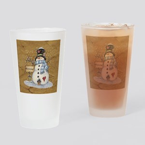 Folk Art Snowman Drinking Glass