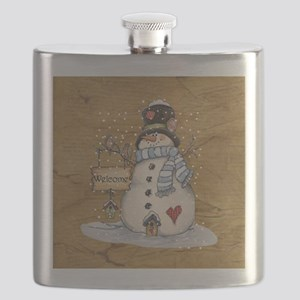 Folk Art Snowman Flask