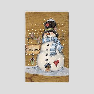 Folk Art Snowman Area Rug