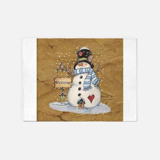 Folk Art Snowman 5'x7'Area Rug