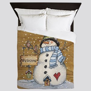Folk Art Snowman Queen Duvet