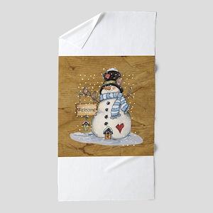 Folk Art Snowman Beach Towel