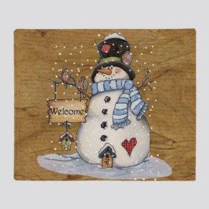 Folk Art Snowman Throw Blanket