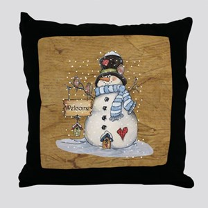 Folk Art Snowman Throw Pillow