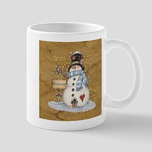 Folk Art Snowman Mugs