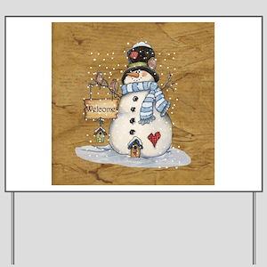 Folk Art Snowman Yard Sign