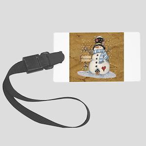 Folk Art Snowman Large Luggage Tag