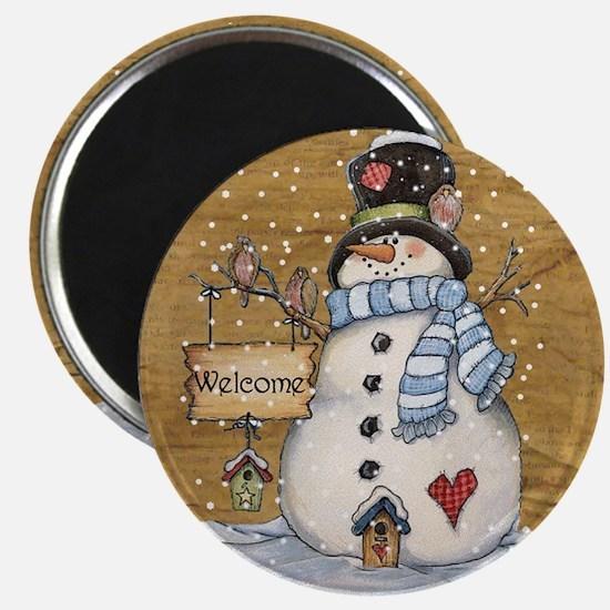 Folk Art Snowman Magnets