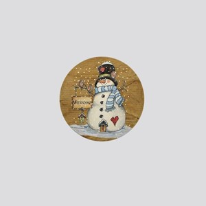 Folk Art Snowman Mini Button