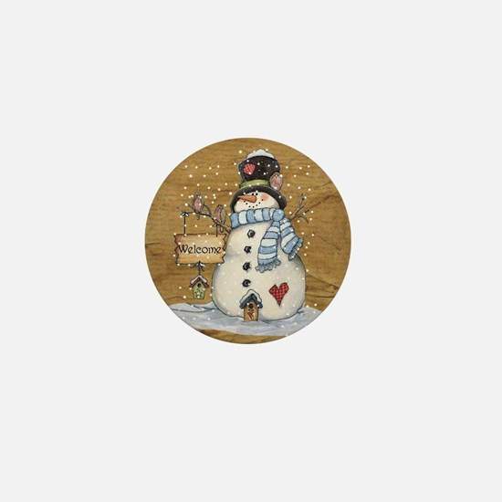 Folk Art Snowman Mini Button