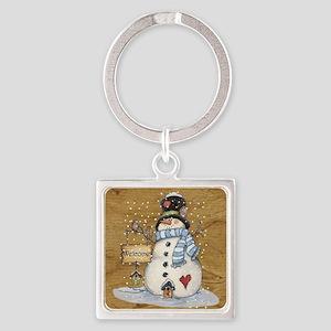 Folk Art Snowman Keychains