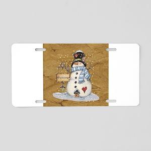 Folk Art Snowman Aluminum License Plate