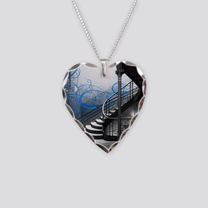 Gothic Staircase Necklace Heart Charm