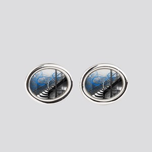 Gothic Staircase Oval Cufflinks