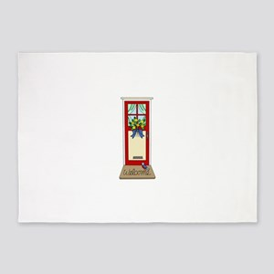 Cheery Colorful Front Door with Wel 5'x7'Area Rug