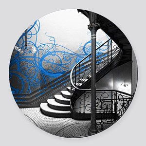Gothic Staircase Round Car Magnet