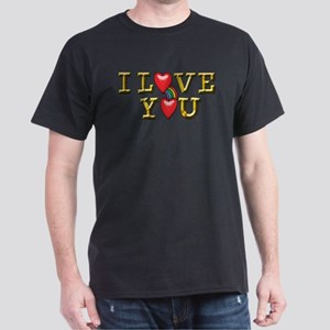 Metallic Gold Text I Love You with Rainbow T-Shirt