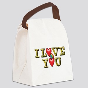 Metallic Gold Text I Love You wit Canvas Lunch Bag