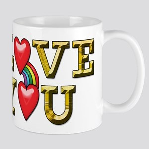 Metallic Gold Text I Love You with Rainbow an Mugs