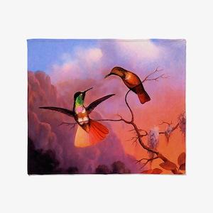 Green Throated Hummingbird Throw Blanket
