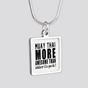 Muay Thai More Awesome Mar Silver Square Necklace