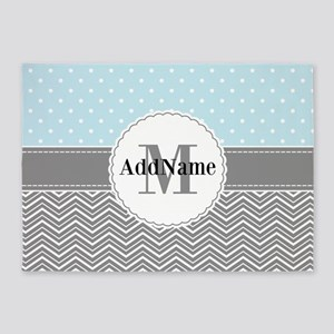 Blue Gray Dots Chevron Personalized 5'x7'Area Rug