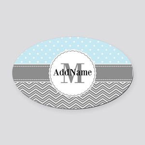 Blue Gray Dots Chevron Personalize Oval Car Magnet