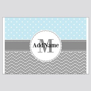 Blue Gray Dots Chevron Personalized Large Poster