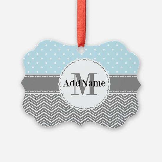 Blue Gray Dots Chevron Personaliz Ornament
