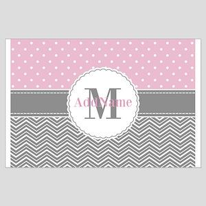 Monogrammed Gray Pink Chevron Polka D Large Poster