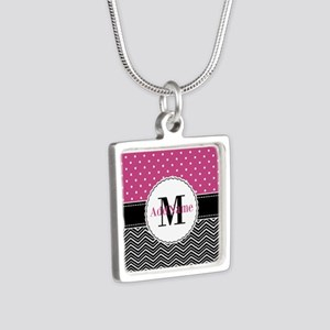 Pink Polka Dots Black Chev Silver Square Necklace