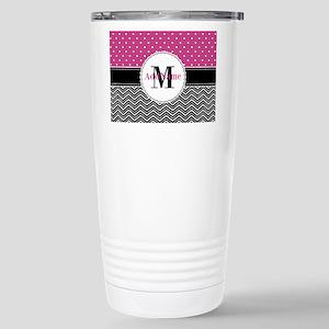 Pink Polka Dots Black C Stainless Steel Travel Mug