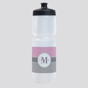 Pink Polka Dots Black Chevron Monogr Sports Bottle