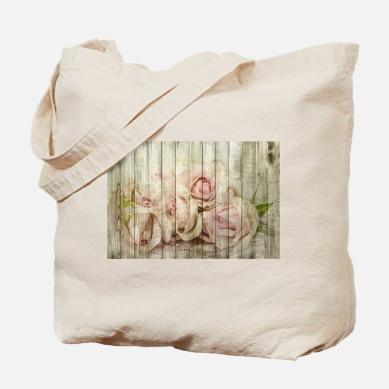 Shabby Chic Country Floral Rose Wood Tote Bag