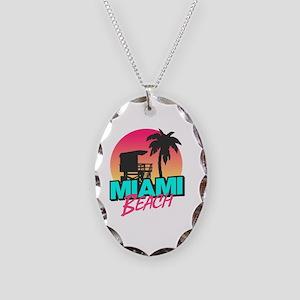 Miami beach Necklace Oval Charm