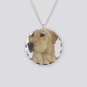 Yellow Lab Necklace Circle Charm