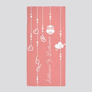 Coral Pink Hearts Owl Personalized Beach Towel
