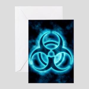 Blue Biohazard Symbol Greeting Cards