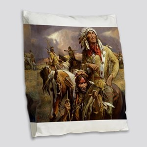 Crazy Horse Burlap Throw Pillow