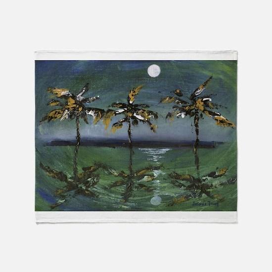 Moon Palms Throw Blanket