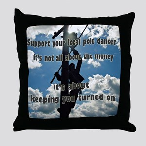 Support your Lineworker Throw Pillow