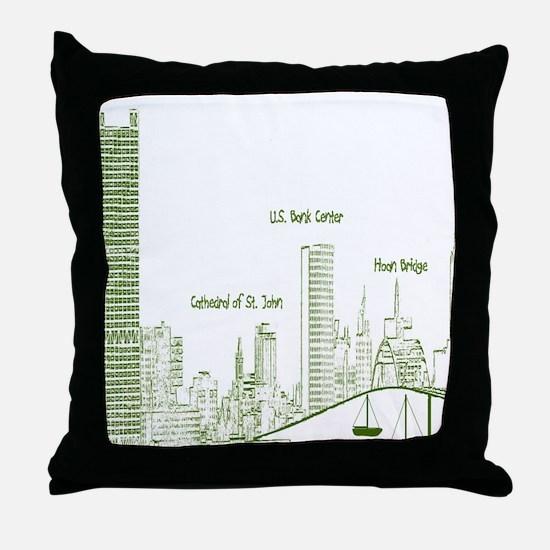 Milwaukee Skyline Green Throw Pillow