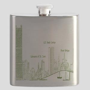 Milwaukee Skyline Green Flask
