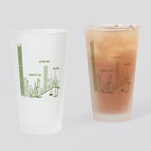 Milwaukee Skyline Green Drinking Glass