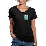 Olleshaw Women's V-Neck Dark T-Shirt