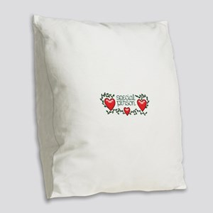 Hearts and Vines Special Perso Burlap Throw Pillow