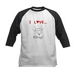 I Love Bling Kids Baseball Jersey