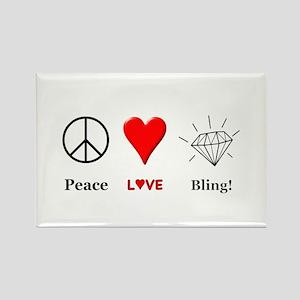Peace Love Bling Rectangle Magnet